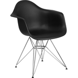 Apollonia Series Black Plastic Chair with Chrome Base