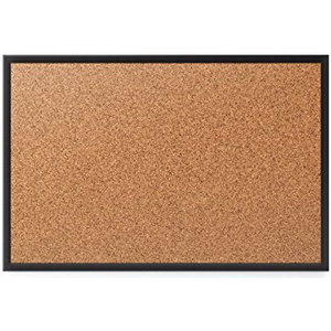"(Scratch & Dent) Quartet Cork Bulletin Board, 4' x 3', Black Aluminum Frame - 36"" Height x 48"" Width - Brown Natural Cork Surface - Black Aluminum Frame - 1 / Each Item # 260813"