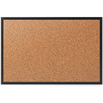 (Scratch & Dent) Quartet Cork Bulletin Board, 4' x 3', Black Aluminum Frame - 36