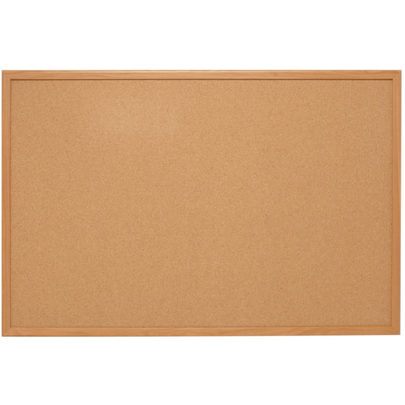 (Scratch & Dent) Quartet Natural Cork Bulletin Board With Oak Frame, 48