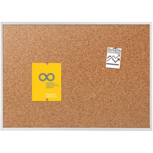 "(Scratch & Dent) Quartet Natural Cork Bulletin Board With Anodized Aluminum Frame, 36"" x 60"" Item # 919779"