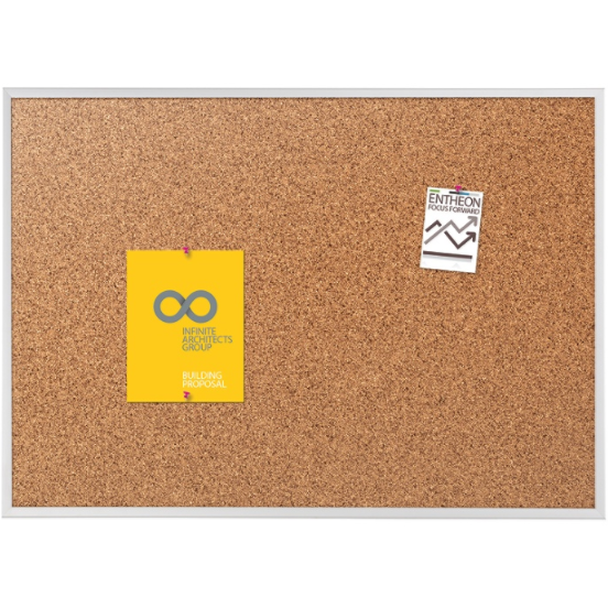 (Scratch & Dent) Quartet Natural Cork Bulletin Board With Anodized Aluminum Frame, 36