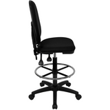Mid-Back Fabric Multifunction Ergonomic Drafting Chair with Adjustable Lumbar Support