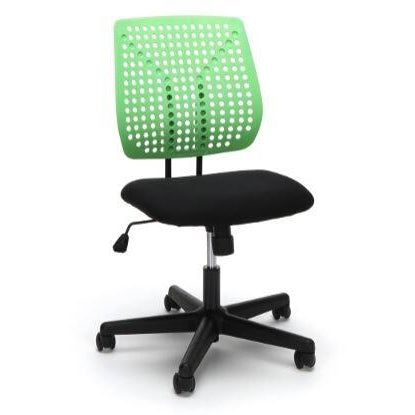Armless Task Chair, Seats: Green, Gray, Red, and White