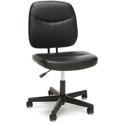 Sharpline Leather Armless Task Chair, Black