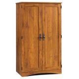 (Scratch & Dent) Sauder Outlet Harvest Mill Computer Armoire, Abbey Oak Finish