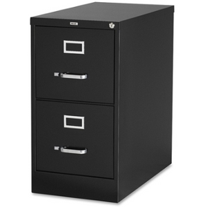 "(Scratch & Dent) Lorell Deep Vertical File With Lock, 2 Drawers, 28 3/8""H x 15""W x 26 1/2""D, 30% Recycled, Black Item # 685365"