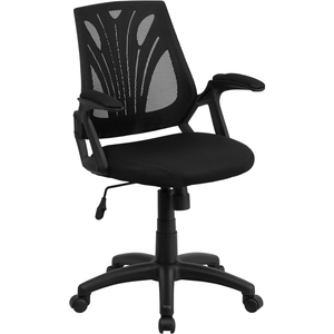 Mid-Back Designer Black Mesh Swivel Task Office Chair with Open Arms