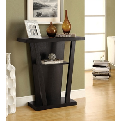 Monarch Specialties Hall Accent Table, Trapezoid, Cappuccino Item # 445652