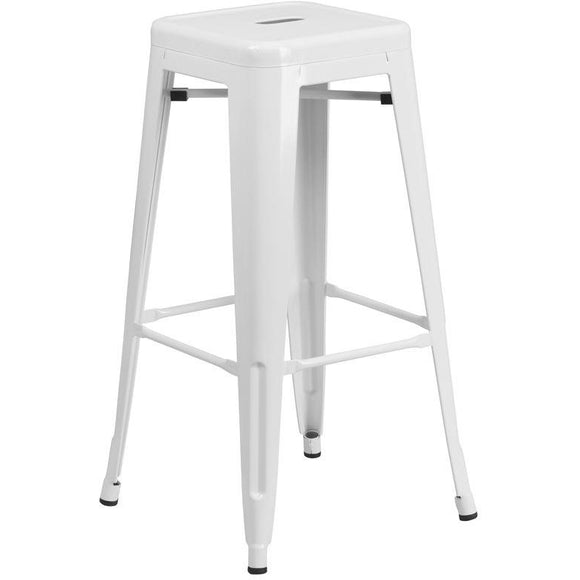 30'' HIGH BACKLESS WHITE METAL BARSTOOL WITH SQUARE SEAT