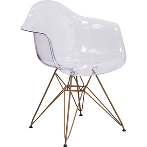 Apollonia Series Transparent Plastic Chair With Gold Base
