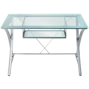 "Realspace Zentra Outlet Computer Desk, 30""H x 48""W x 28""D, Silver/Clear"
