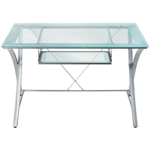 "(Scratch and Dent) Realspace Zentra Outlet Computer Desk, 30""H x 48""W x 28""D, Silver/Clear"