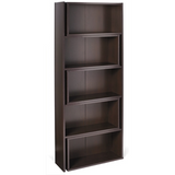 "Realspace Outlet Cove Springs Expanding 5-Shelf Bookcase, 71 1/2""H x 50 5/16""W x 10""D, Espresso"