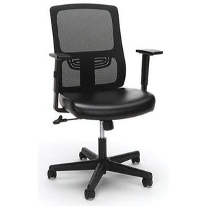 Sharpline Ergonomic Mesh Chair  with Leather Seat, Black