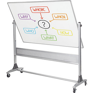 "Best-Rite Outlet Magnetic Reversible Dry-Erase Board, Porcelain, 48"" x 72"", White, Silver Frame"