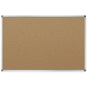 "Quartet Economy Natural Cork Bulletin Board With Aluminum Frame, 48"" x 36"", Brown/Silver"