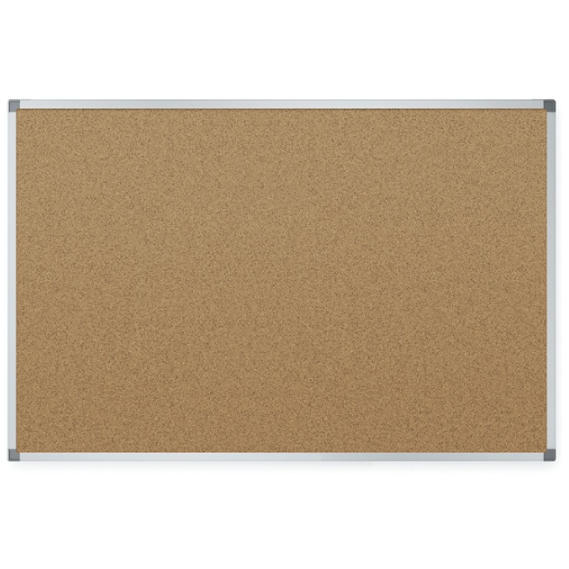 Quartet Economy Natural Cork Bulletin Board With Aluminum Frame, 48