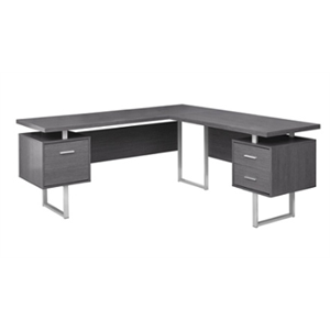 Monarch Specialties L-Shaped Particleboard Corner Computer Desk, Gray