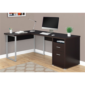 (Scratch & Dent ) Monarch Specialties L-Shaped Particleboard Computer Desk With 2 Drawers, Cappuccino