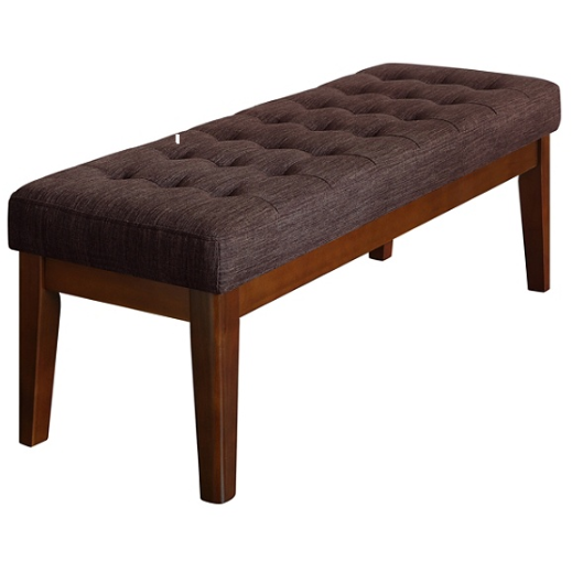 Elle Dcor Claire Tufted Bench, Chocolate Brown/Brown