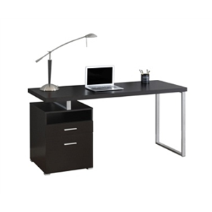 Monarch Specialties Contemporary Computer Desk With 2-Drawers And Open Shelf, Cappuccino/Silver