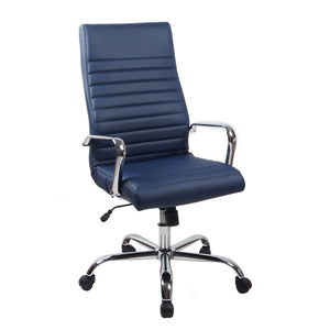 RealBiz II Modern Comfort Series High-Back Leather Chair, Midnight Blue
