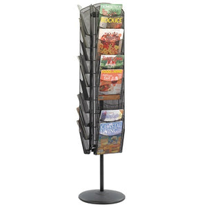 Safco Outlet Onyx 30-Pocket Mesh Rotating Literature Display, Black