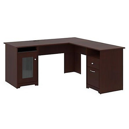 (Scratch & Dent) Bush Furniture Cabot L Shaped Desk, Harvest Cherry, Standard Delivery