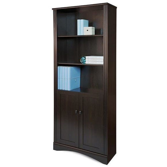 Realspace Dawson 5-Shelf Bookcase With Doors, Cinnamon Cherry
