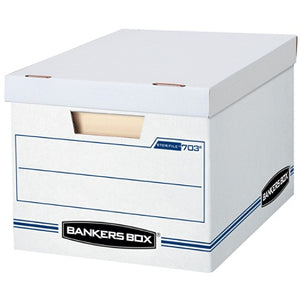 "Bankers Box Outlet Stor/File Basic Strength Storage Boxes, 15"" x 12"" x 10"", Letter/Legal, 60% Recycled, White/Blue, Pack Of 12"