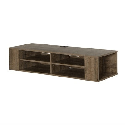 South Shore City Life Wall Mounted Media Console, Weathered Oak
