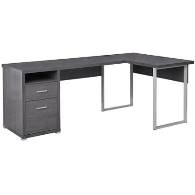 (Scratch & Dent) Monarch Specialties L-Shaped Computer Desk With 2 Drawers, Gray