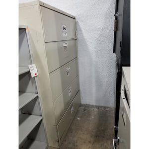 "Used 42"" 5 Drawer Lateral File, Putty"