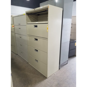 "Used 36"" 5 Drawer Lateral File, Putty"