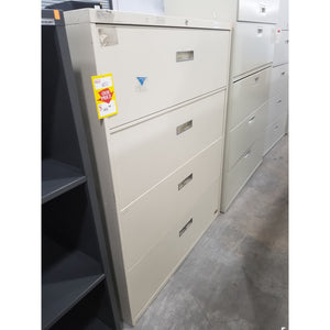 "Used 42"" Wide 4 Drawer Lateral File, Putty"