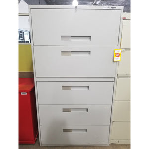 "Global 36"" Lateral File Cabinet 5 Drawer, Gray"