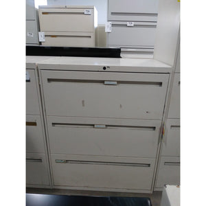 "Pre-owned 3 Drawer Lateral File 30"", Putty"