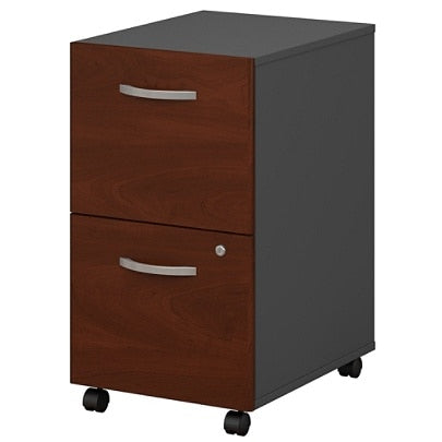 Bush Business Furniture Components 2 Drawer Mobile File Cabinet, Hansen Cherry/Graphite Gray