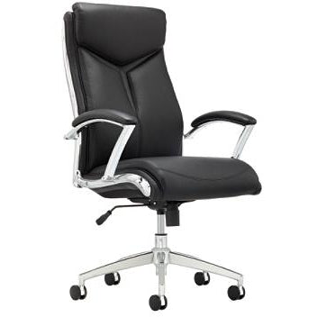 Realspace Outlet Verismo Bonded Leather High-Back Chair, Black/Chrome