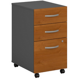 Bush Business Furniture Components 3 Drawer Mobile File Cabinet, Natural Cherry/Graphite Gray, Standard Delivery