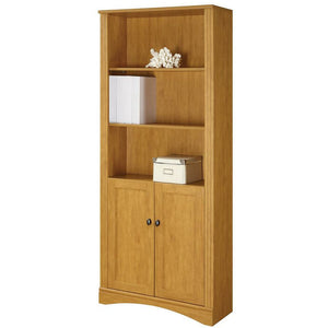 Realspace Outlet Dawson 5-Shelf Bookcase With Doors, Canyon Maple