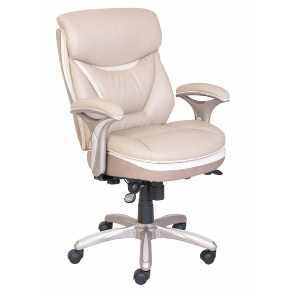 Serta Outlet Smart Layers Verona Bonded Leather Mid-Back Manager Chair, Ivory