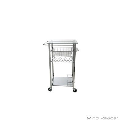 (Scratch & Dent) Mind Reader 1-Drawer Glass-Top Mobile Kitchen Cart, Silver