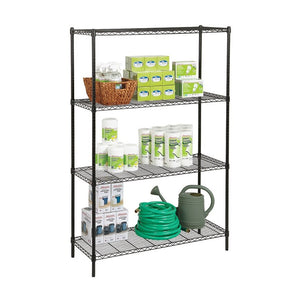 "Realspace Outlet Steel Wire Shelving, 4-Shelves, 72""H x 48""W x 18""D, Black"