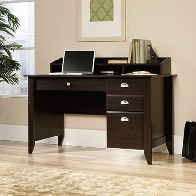Sauder Shoal Creek Desk With Organizer Hutch, Jamocha Wood