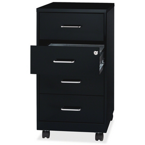 "Lorell 26-1/2"" Mobile Storage Cabinet - 14.3"" x 18"" x 26.5"" - 4 x Drawer(s) - Legal, Letter - Vertical - Mobility, Casters, Locking Drawer, Glide Suspension, Drawer Extension - Black - Steel - Recycled"