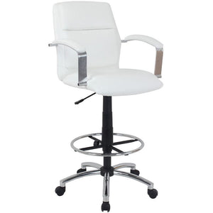 Global Office Furniture Drafting Stool, Ivory/Chrome