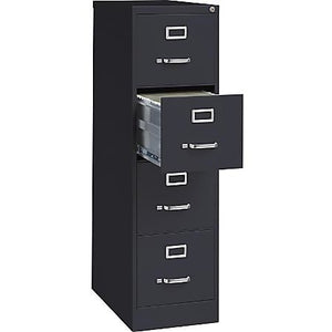 "Lorell Outlet Deep Vertical File With Lock, 4 Drawers, 52""H x 15""W x 25""D, 30% Recycled, Black"