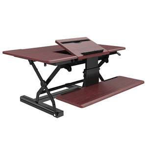 "Loctek P Series 36"" Sit-Stand Riser With Drop-Down Keyboard Tray, Wood"